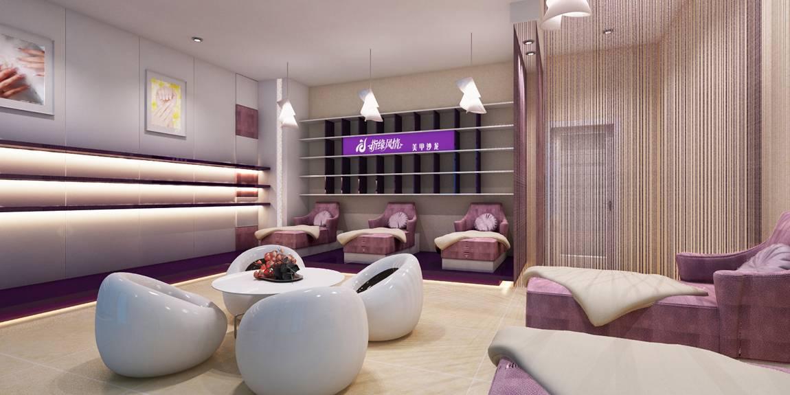 现代风格美甲店工作间墙面装修效果图-现代风格休闲椅图片