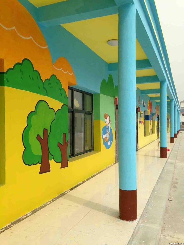 幼儿园外墙彩绘背景墙装修图片