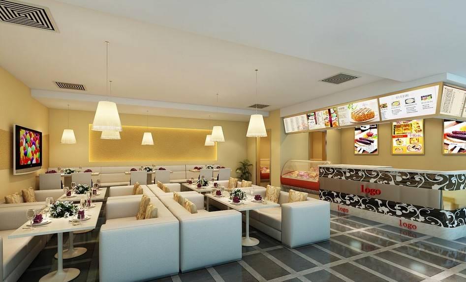 简约风格特色奶茶店室内装修效果图-简约风格餐桌图片