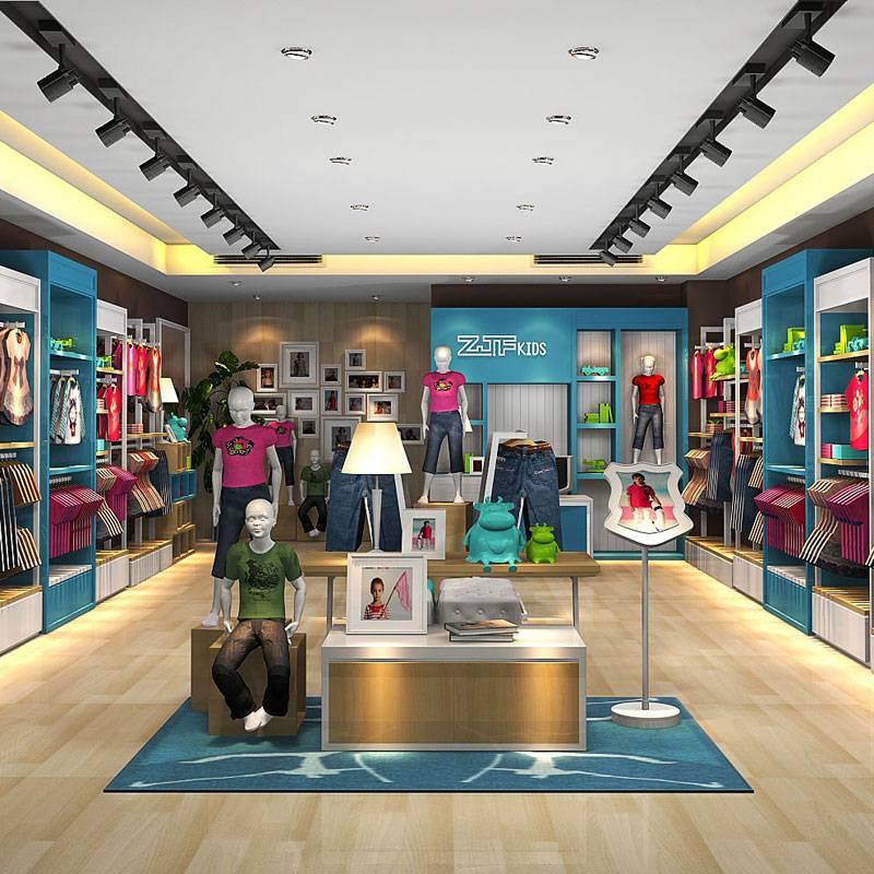 现代简约风格童装店装修效果图-现代简约风格墙上置物架图片