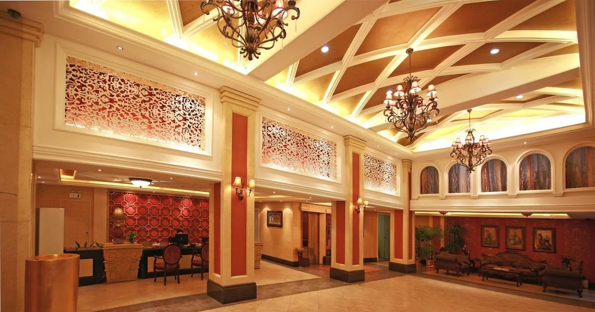 欧式古典风格宾馆大厅吊顶装修图片-欧式古典风格吊灯图片
