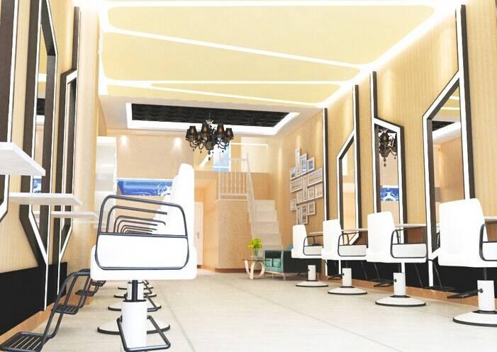 现代简约风格理发店吊顶装修效果图-现代简约风格洗发