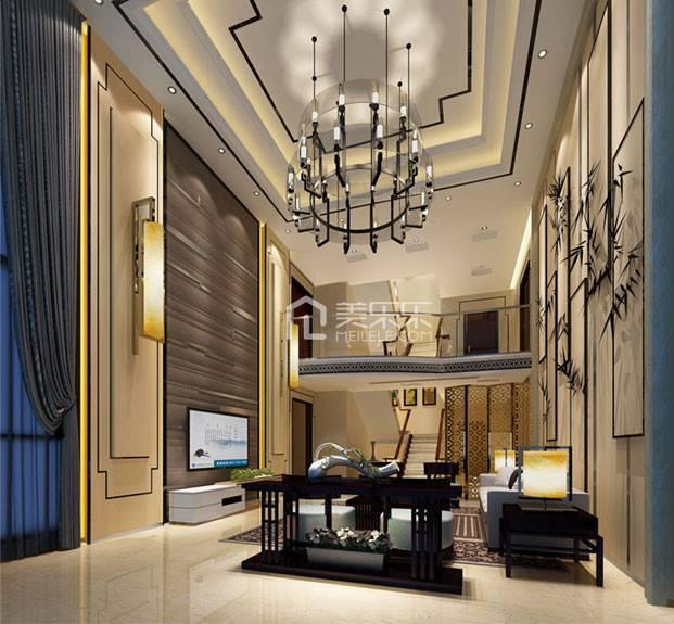 大别墅挑空客厅电视背景墙设计效果图