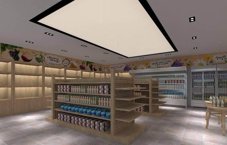 簡約風格便利店店面吊頂裝修圖片-簡約風格貨架圖片