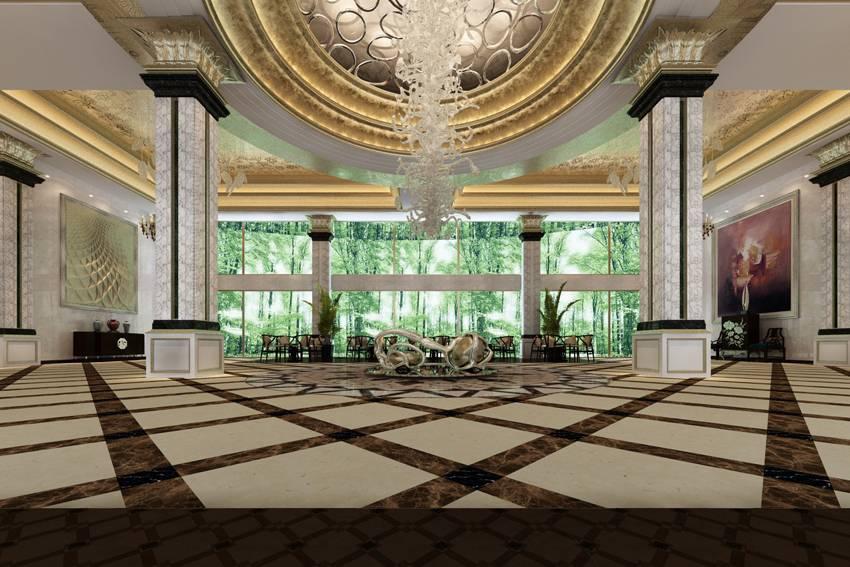 欧式风格酒店大堂吊顶装修效果图