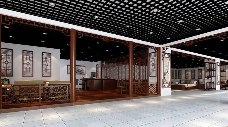 中式風格展廳裝修效果圖
