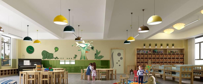 简约风格幼儿园灯饰装修效果图-简约风格儿童书桌图片
