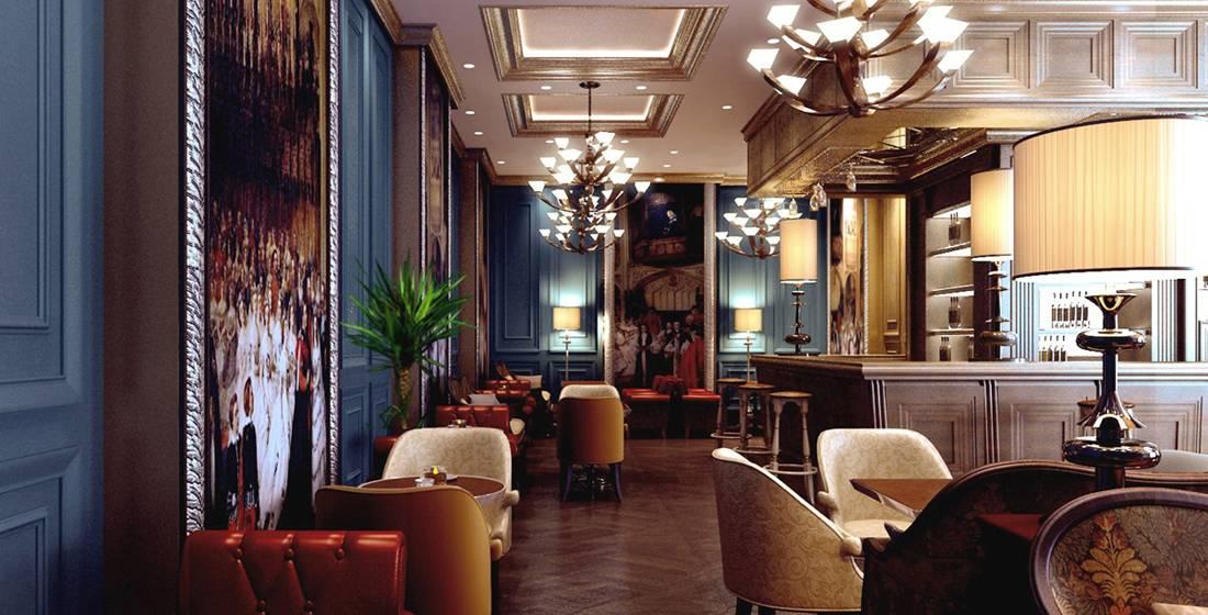 歐式風格咖啡館吊頂裝修圖片-歐式風格吧臺椅圖片