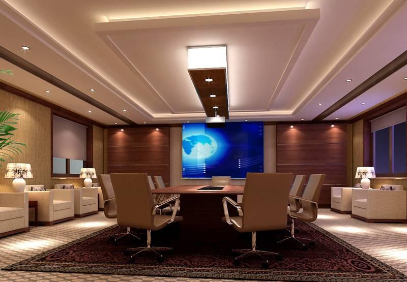 新中式風格會議室背景墻裝修效果圖-新中式風格辦公椅圖片