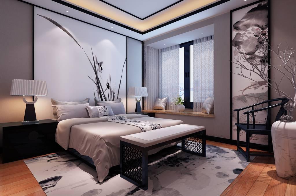 主人房床头背景墙面装饰设计效果图