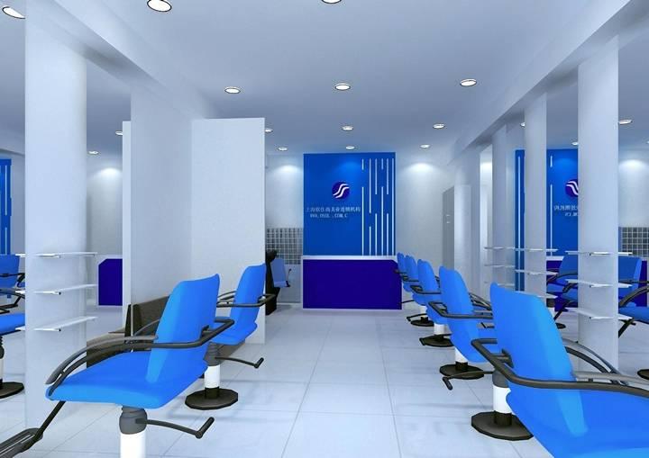 现代简约风格理发店吊顶装修效果图-现代简约风格转椅图片