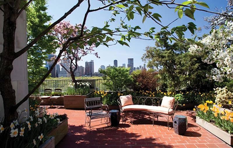 簡約風格樓頂花園裝修圖片-簡約風格椅凳圖片