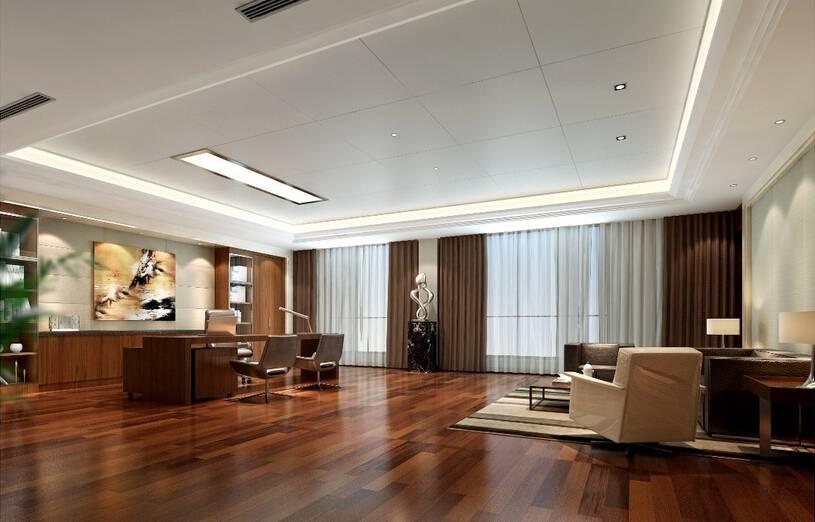 新中式风格董事长办公室墙装修效果图-新中式风格办公桌图片