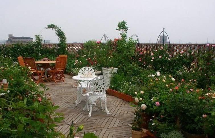 混搭风格楼顶花园装修图片-混搭风格椅凳图片