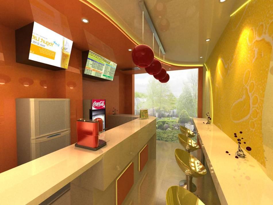 現代風格奶茶店吊頂裝修效果圖-現代風格吧臺椅圖片