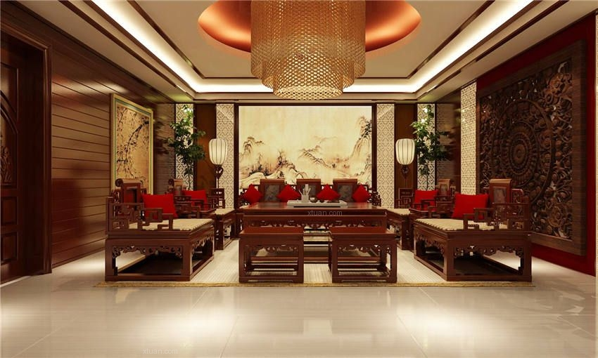 中式風格會所_會所中式賦予傳統文化意蘊裝修效果圖