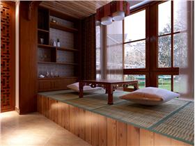 中式風格別墅休息區榻榻米