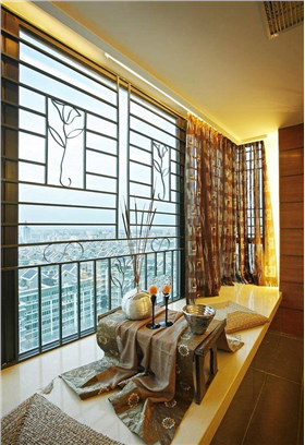中式風格復式樓陽臺防盜窗裝修設計