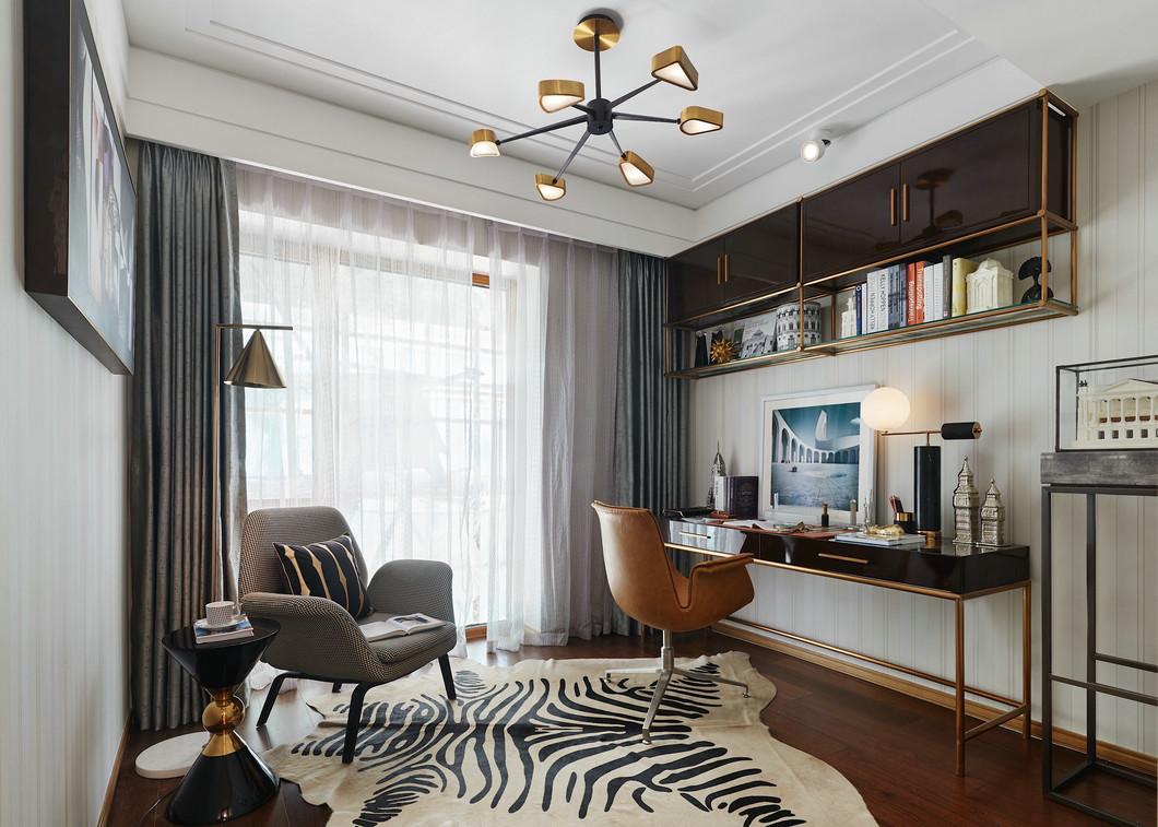 现代风小户型书房灰色窗帘装修设计图
