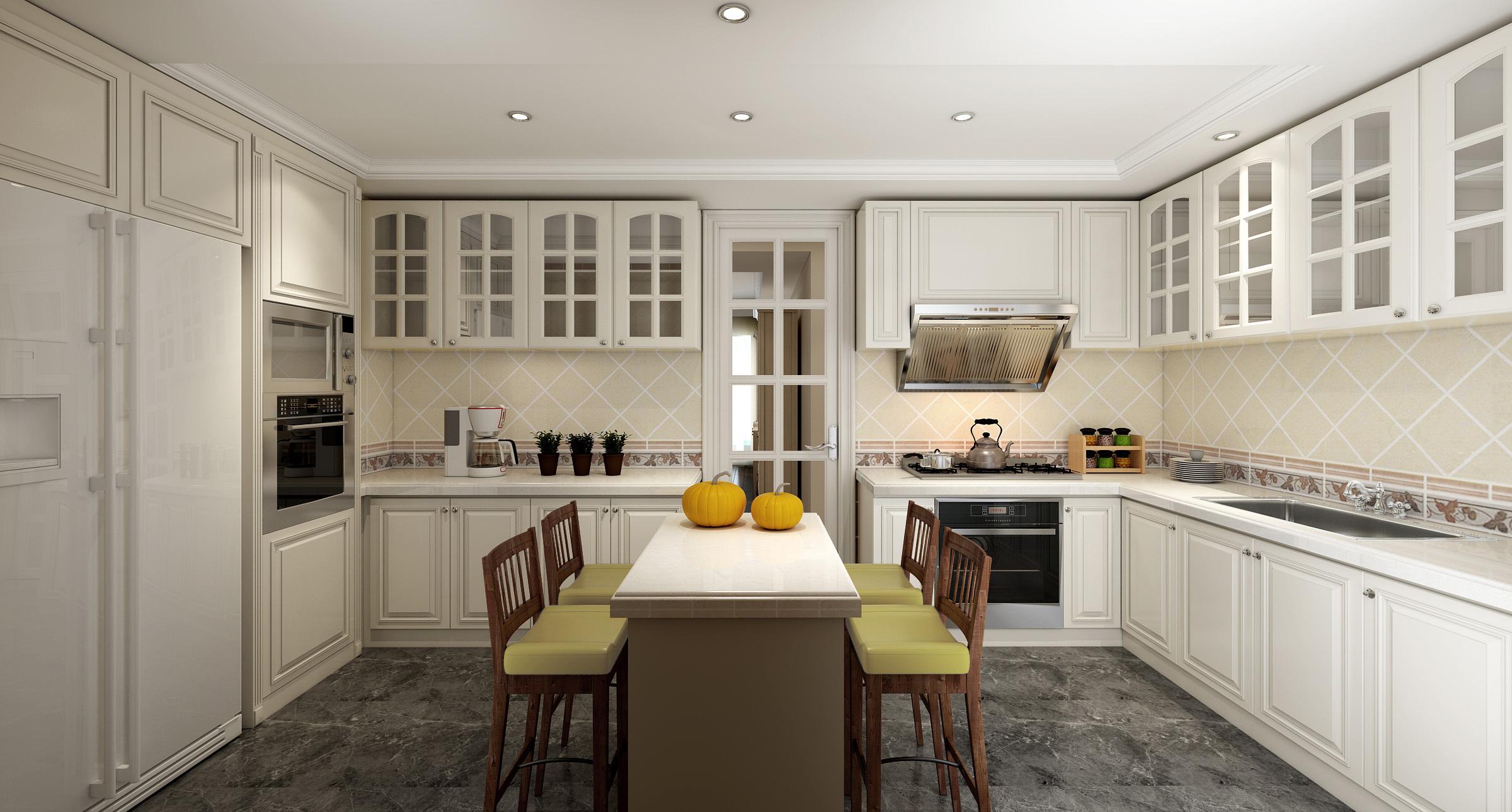 清新白色欧式厨房橱柜装修效果图