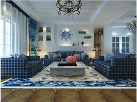 98㎡二居室地中海风情——纯洁清新的蓝白搭配。