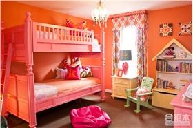 橘黄色少女系儿童房