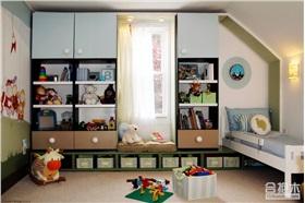 儿童房飘窗收纳架设计