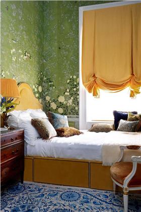 卧室复古绿背景墙