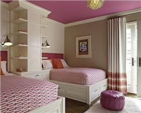 俏皮可爱的桃红色儿童房风景