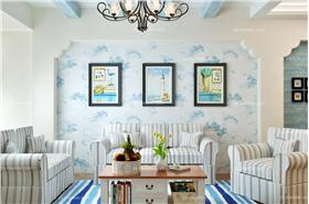 地中海客厅条纹沙发