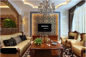 棕色欧式风格时尚客厅窗帘装修设计图