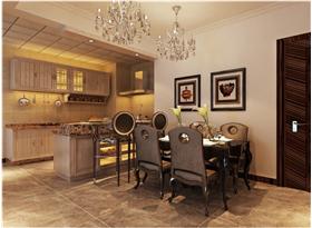 棕色欧式风格餐厅吧台装修设计图