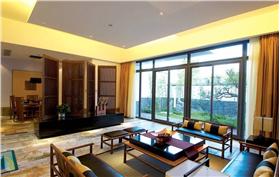 米色唯美东南亚风格客厅窗帘装修设计图