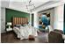 现代风格卧室绿色背景墙