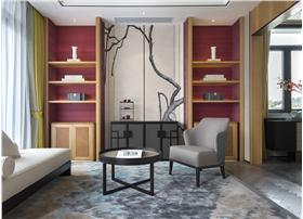 新中式客厅红色展示架