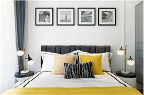 现代风格卧室黑白照片墙