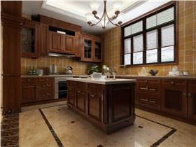美式厨房棕色橱柜